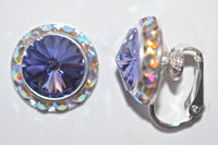 15MM Silver Clip On Earrings With A.B. Crystals Around An Austrian Rivoli Crystal - 30 Colors Available