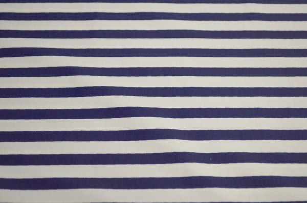 "1/4"" Navy & White Stripe Matte Nylon Spandex"