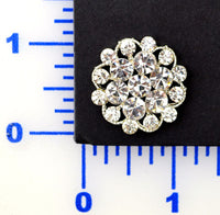 Crystal Rhinestone Silver Button- Individual or 12 Pack