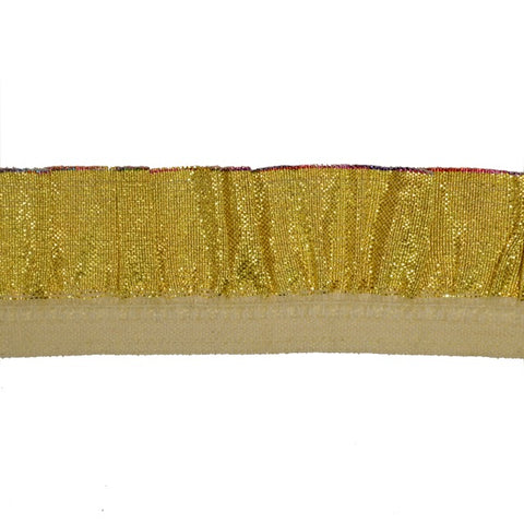 "1"" Gold Ruffled Stretch Lamé Trim"