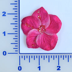 "2 1/4"" Velvet Flower With Sequins - 28 Colors Available - Package of 6"