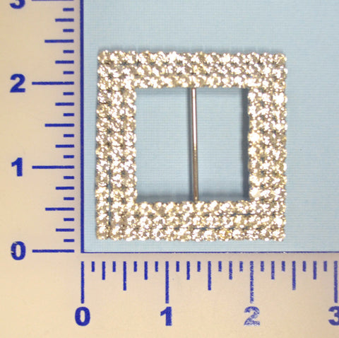 3 Row Square Rhinestone Buckle