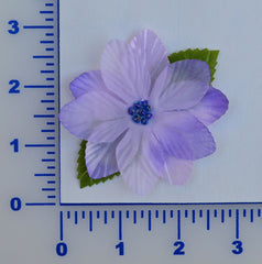 "3"" Flower With Leaves And Beaded Center - 6 Colors Available - Packs of 12"