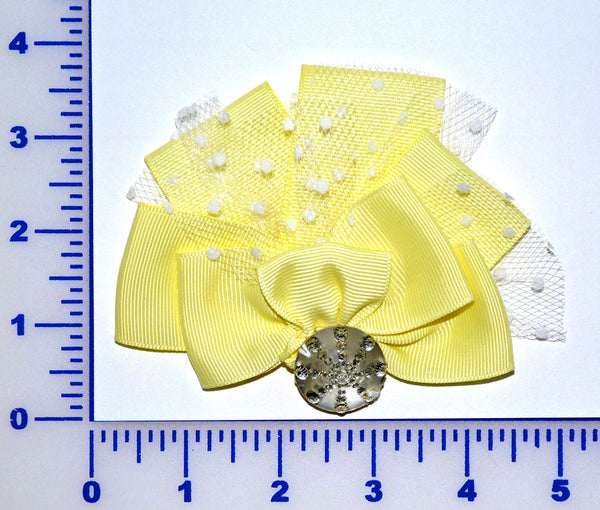 "4"" Grosgrain Bow With Dot Net And Acrylic Stone - Yellow"