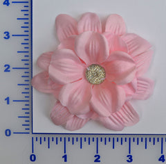 "4"" Hibiscus Flower With Acrylic Stone - 4 Colors Available - Individual or 6 Packs"