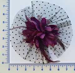 "4"" Taffeta Flower With Feathers, Netting And Beads - 6 Colors Available - Individual or 6 Pack"