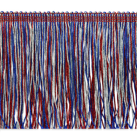 "6"" Red White & Blue Metallic Fringe"