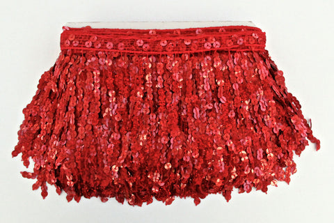 "6"" Red Holographic Sequin Fringe"