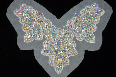 A.B. Rhinestone Bodice Appliqué on Mesh