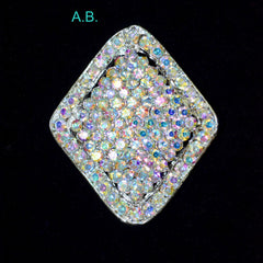 Diamond Shaped Rhinestone Brooch. Available in Crystal & A.B.