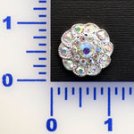 A.B. Rhinestone Silver Button- Individual or 12 Pack