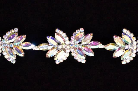 A.B.Crystal Rhinestone Trim Set In Metal