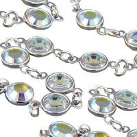 Silver Channel Chain w/ AB Austrian Crystals. Sold by the Foot.