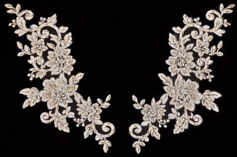 Large Silver Metallic Pair Appliqués With Sequins And Beads