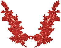 Red Pair Appliqués With Sequins And Beads