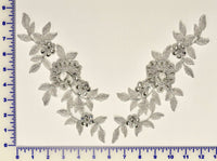 Silver Metallic Pair Appliqués With Sequins And Beads