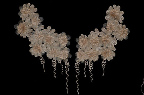Tan Flower Appliqué Pair With Beads