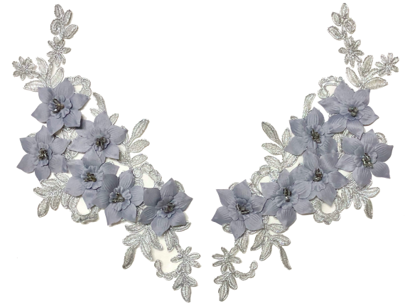 Silver Flower Appliqué Pair With Beads