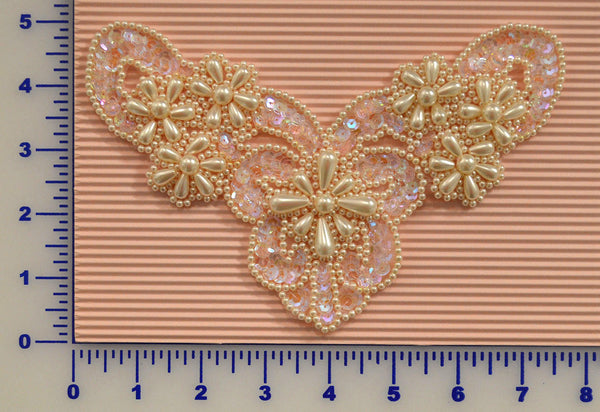 Antique Pink And Ivory Sequin Beaded Appliqué