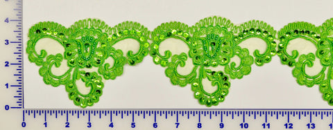 Apple Green Beaded Lace Trim With Sequins & Beads