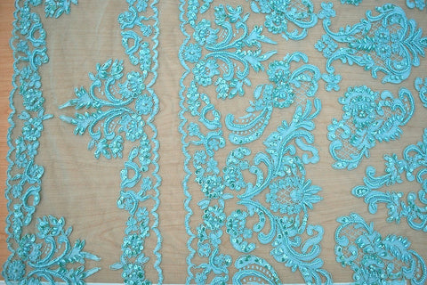 Aqua Beaded And Sequin Corded Bridal Lace