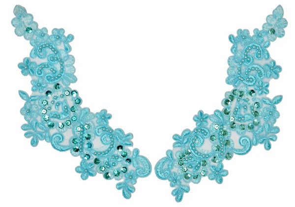 Aqua Appliqué Pair With Sequins And Beads