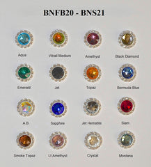 Rhinestone Flat Back Gold Button -16 Colors Available - Individual or 12 Pack