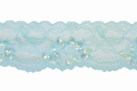 "Baby Blue 2"" Stretch Lace w/Sequins"