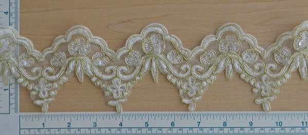 "3 3/4"" Beaded Scalloped Bridal Lace - Ivory/Gold"