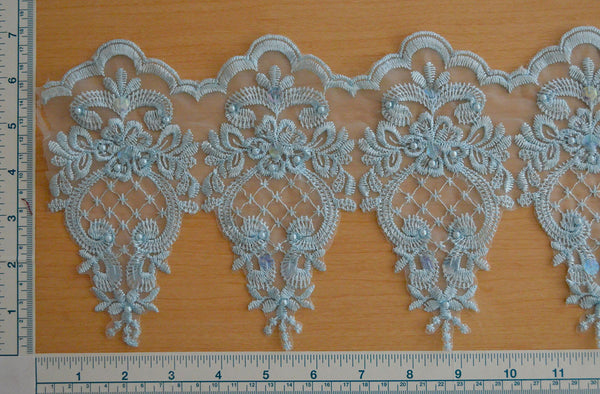 "7"" Beaded Bridal Lace - LT Blue"