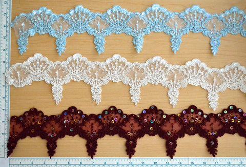 "3 1/2"" Beaded Bridal Lace Trim - 2 Color Choices"