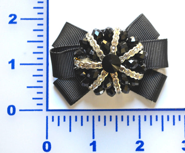 "2 3/4"" x 1 3/4"" Beaded With Grosgrain Bow Brooch - Black"