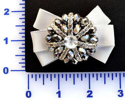 "2 3/4"" x 1 3/4"" Beaded Brown With Grosgrain Bow Brooch - Silver"