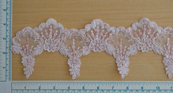 "3 1/2"" Beaded Bridal Lace Trim - LT Pink"