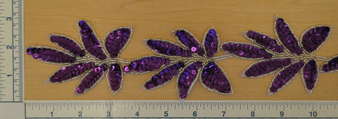 "2 1/2"" Beaded Leaf Trim With Sequin - Purple & Silver"