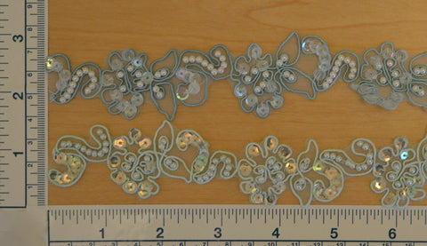 "1"" Beaded Organza Trim With Sequins - 2 Color Choices"
