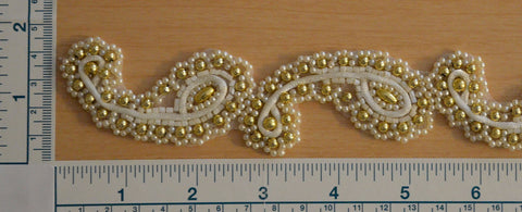 "1 1/4"" Beaded Trim - Ivory And Gold"