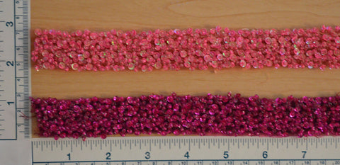 "1"" Beaded Sequin Trim - Hot Pink or Magenta"