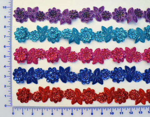 "1 1/2"" Beaded Flower Trim With Sequins - 9 Colors Available"