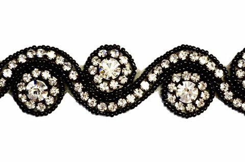 Black Beaded Rhinestone Trim