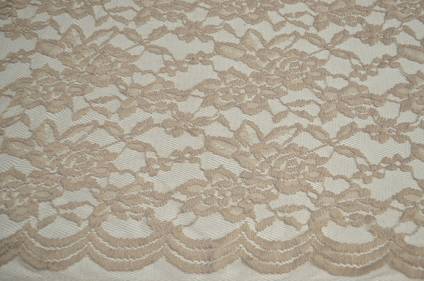 Beige 2-Way Stretch Lace w/ Scalloped Border