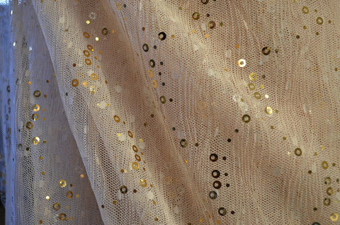 Beige w/ Gold Sequins 2-Way Stretch Lace
