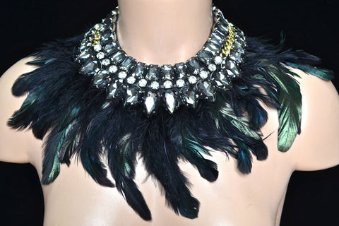 Black Rhinestone Neck Piece w/ Feathers