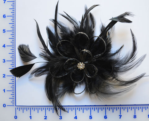 Black Feather Brooch With Rhinestone Center