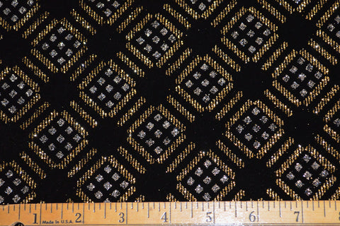 Gold & Silver Geometric Print On Black Stretch Velvet