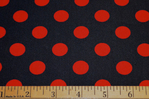 Red Polka Dots On Black Matte Nylon Spandex