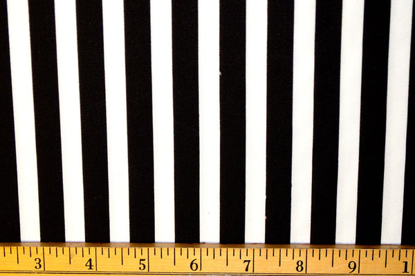 "1/2"" Black & White Stripe Matte Nylon Spandex"