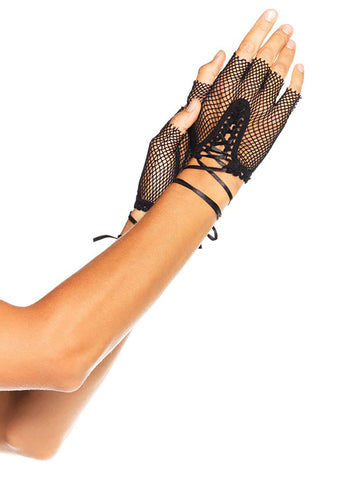 Black Fingerless Fishnet Laceup Gloves