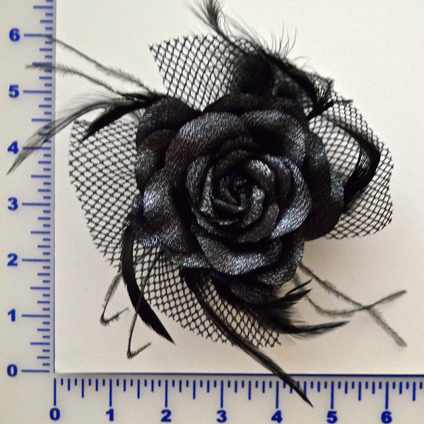 Black Glitter Rose With Feathers & Netting - w/ Hair Clip