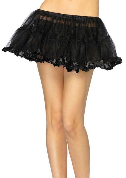 Petticoat With Pleated Satin Trim - Available In 4 Colors